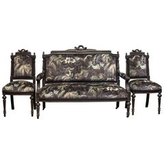 19th Century Napoleon III Ebonized Salon Suite Reupholstered in House of Hackney