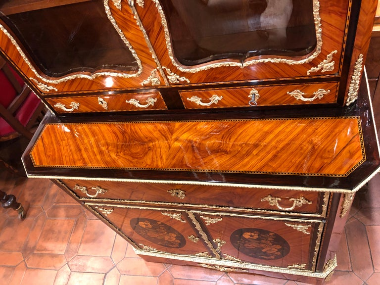 19th Century Napoleon III Ebony Rosewood Inlaid France Cabinet Desk, 1850s For Sale 4