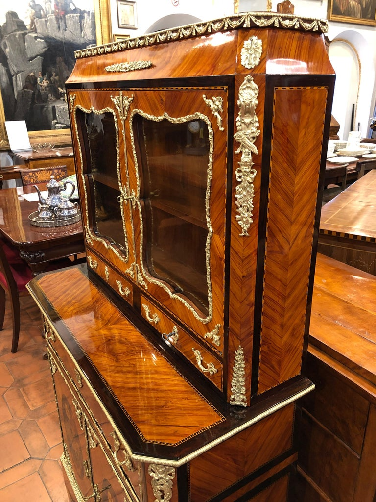 19th Century Napoleon III Ebony Rosewood Inlaid France Cabinet Desk, 1850s For Sale 5
