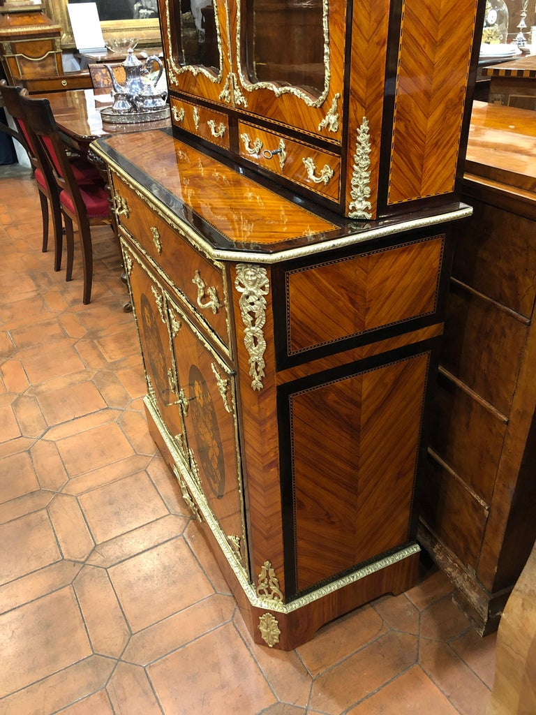 19th Century Napoleon III Ebony Rosewood Inlaid France Cabinet Desk, 1850s For Sale 6