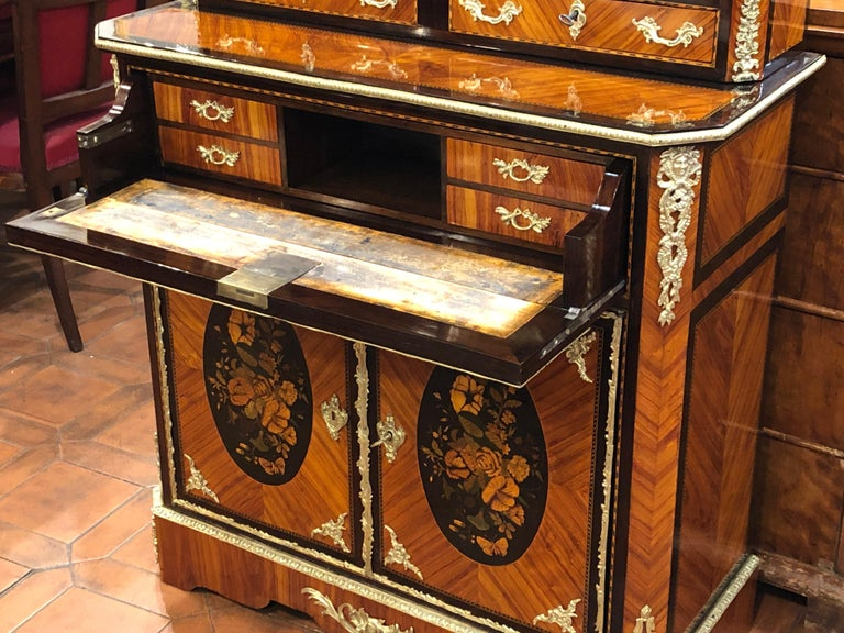 19th Century Napoleon III Ebony Rosewood Inlaid France Cabinet Desk, 1850s For Sale 7