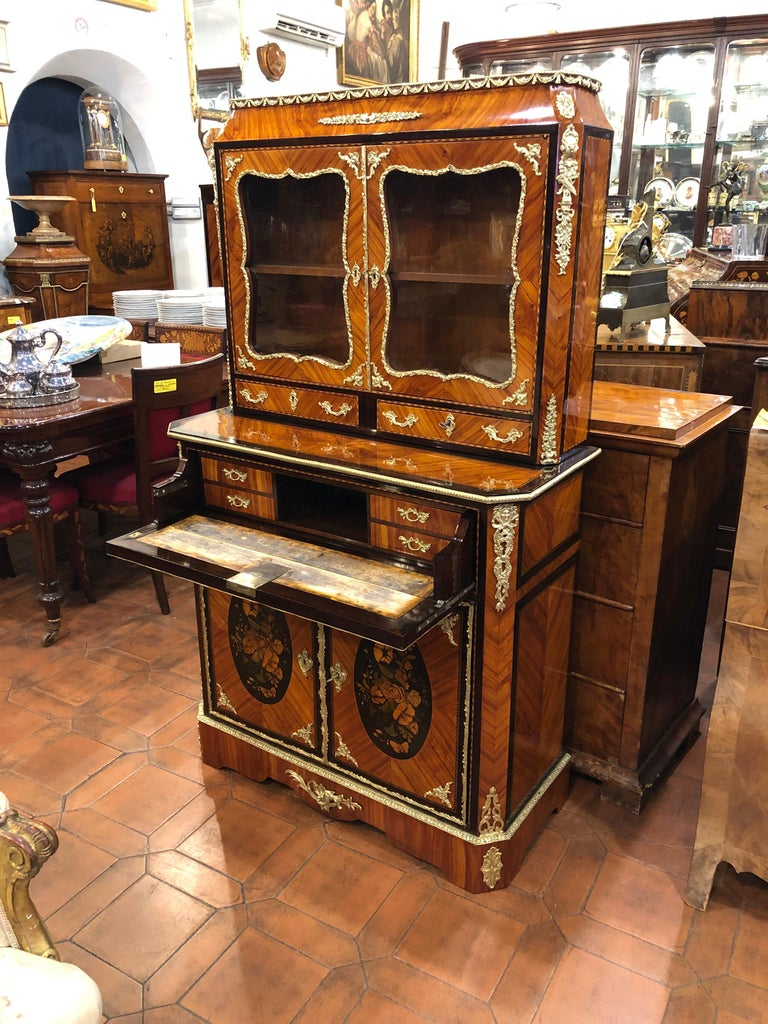 19th Century Napoleon III Ebony Rosewood Inlaid France Cabinet Desk, 1850s For Sale 8