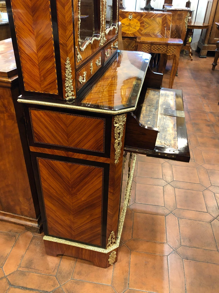 19th Century Napoleon III Ebony Rosewood Inlaid France Cabinet Desk, 1850s For Sale 9