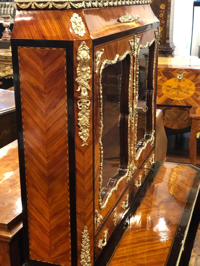 19th Century Napoleon III Ebony Rosewood Inlaid France Cabinet Desk, 1850s For Sale 10