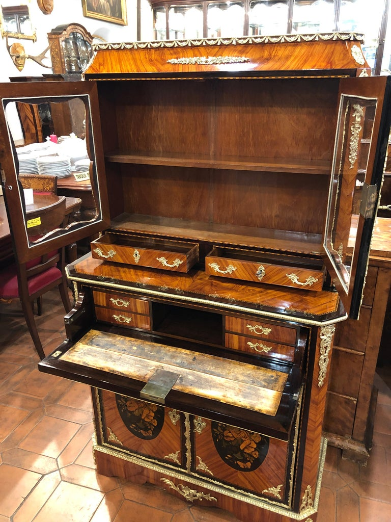 19th Century Napoleon III Ebony Rosewood Inlaid France Cabinet Desk, 1850s For Sale 11