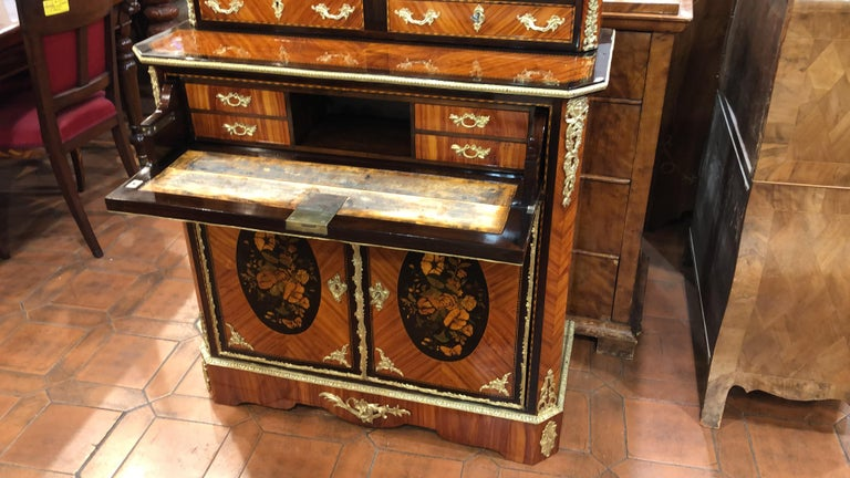French 19th Century Napoleon III Ebony Rosewood Inlaid France Cabinet Desk, 1850s For Sale
