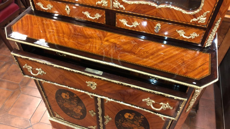 Inlay 19th Century Napoleon III Ebony Rosewood Inlaid France Cabinet Desk, 1850s For Sale