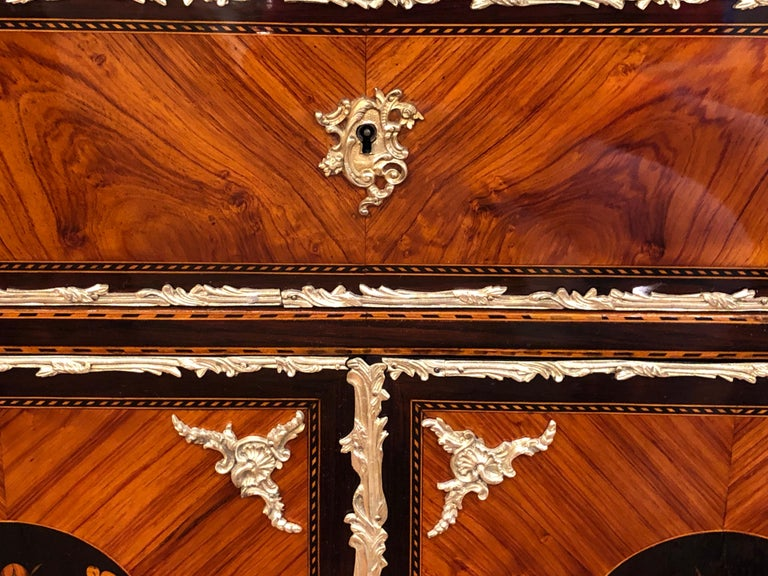 19th Century Napoleon III Ebony Rosewood Inlaid France Cabinet Desk, 1850s For Sale 3