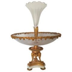 19th Century Napoleon III Elegant Centerpiece in Gilded Bronze and Glass