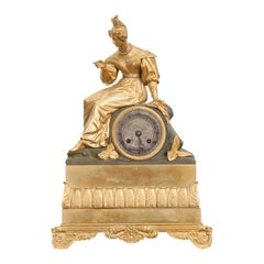 19th Century Napoleon III Fire-Gilt Bronze Figural Mantel Clock