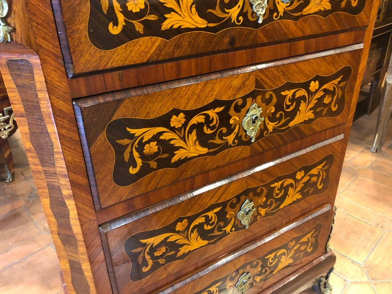 French 19th Century Napoleon III° France Kingwood Rosewood Inlay Chest of Drawers 1860s For Sale