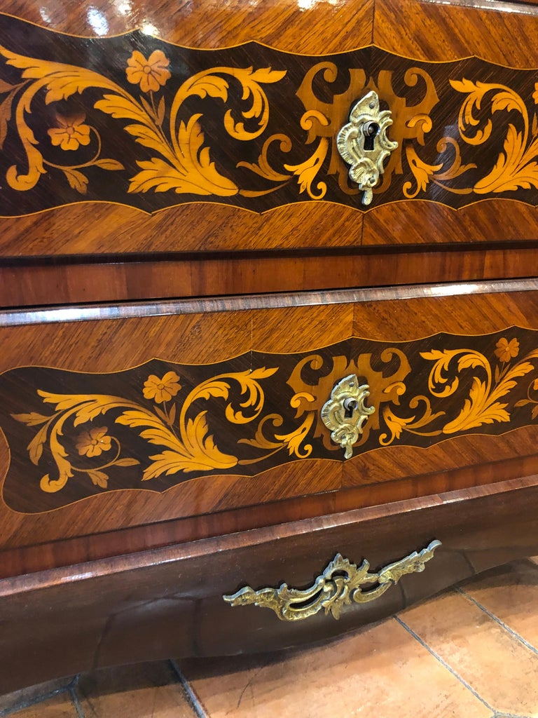 Marquetry 19th Century Napoleon III° France Kingwood Rosewood Inlay Chest of Drawers 1860s For Sale