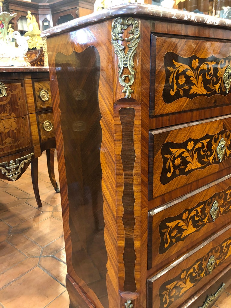 19th Century Napoleon III° France Kingwood Rosewood Inlay Chest of Drawers 1860s In Good Condition For Sale In Roma, RM