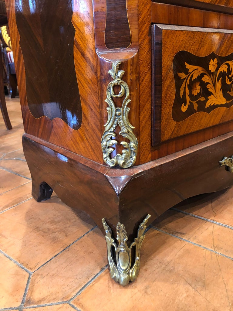 Mid-19th Century 19th Century Napoleon III° France Kingwood Rosewood Inlay Chest of Drawers 1860s For Sale