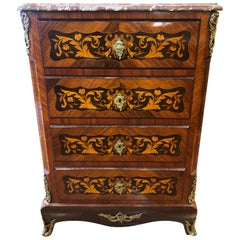 19th Century Napoleon III° France Kingwood Rosewood Inlay Chest of Drawers 1860s