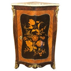 19th Century Napoleon III France Rosewood Inlay Corner with Marble, 1860s