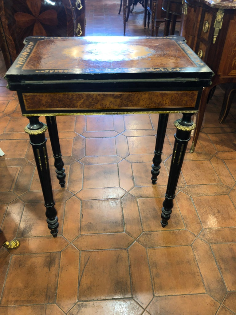 Mid-19th Century 19th Century Napoleon III French Thuya Marquetry Card Table, 1860s For Sale
