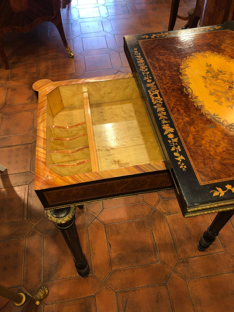 Wood 19th Century Napoleon III French Thuya Marquetry Card Table, 1860s For Sale