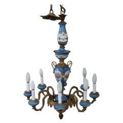 19th Century Napoleon III Gilded Bronze and Sevres Porcelain Antique Chandelier