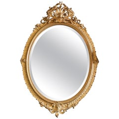 19th Century Napoleon III Gilded Oval Mirror