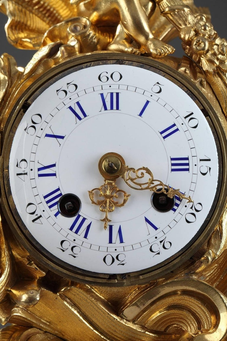 19th Century Napoleon III Gilt Bronze Clock in Rocaille Style For Sale 1