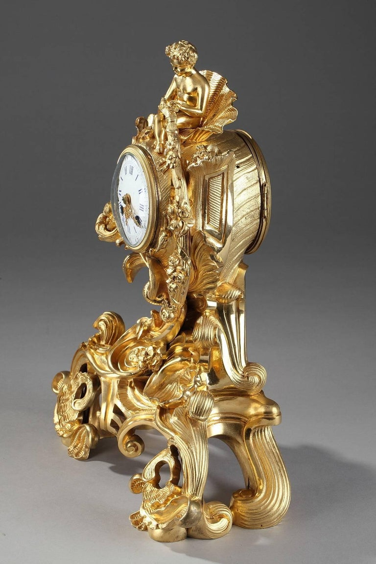 19th Century Napoleon III Gilt Bronze Clock in Rocaille Style For Sale 2