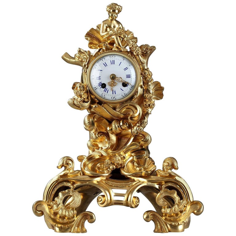19th Century Napoleon III Gilt Bronze Clock in Rocaille Style For Sale