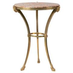 19th Century Napoleon III Gilt Bronze Gueridon Side Table with Marble Top