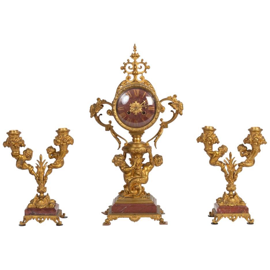 19th Century Napoleon III Gilt Bronze Trim