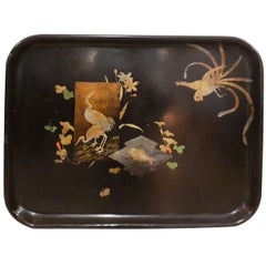 19th Century Napoleon III Lacquered Wood and Painted Tray, 1870s