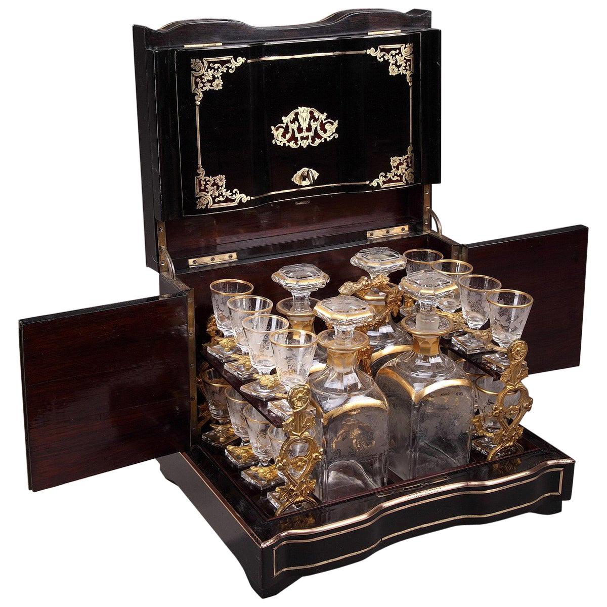 19th Century Napoleon III Liquor Cellar in Ebony with Brass Inlay
