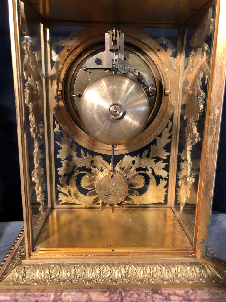 19th Century Napoleon III Marble and Bronze Mantel Clock by H. Journet & Cie For Sale 3