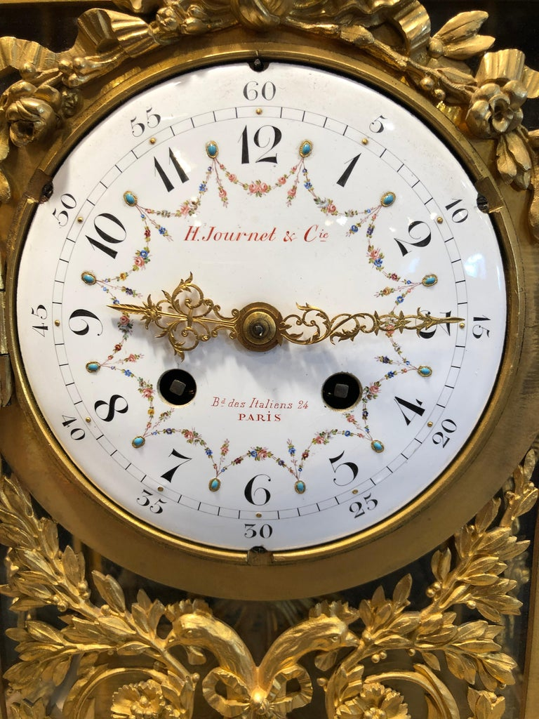 Louis XVI 19th Century Napoleon III Marble and Bronze Mantel Clock by H. Journet & Cie For Sale