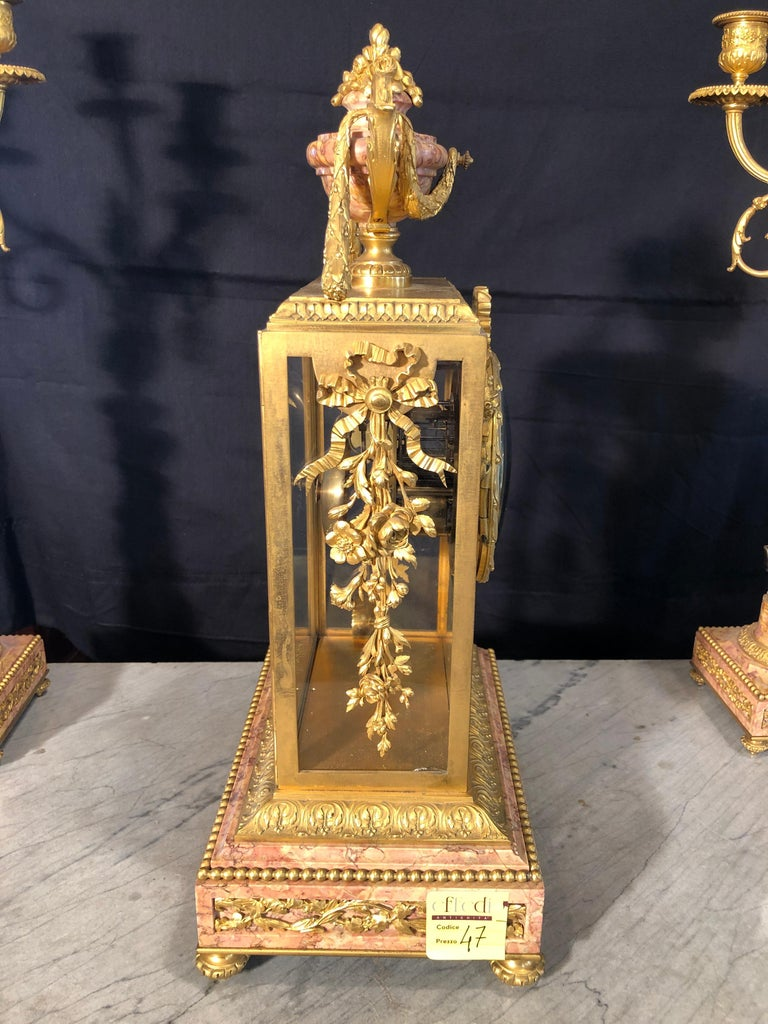 19th Century Napoleon III Marble and Bronze Mantel Clock by H. Journet & Cie For Sale 2