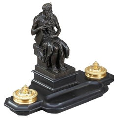 19th Century Napoleon III Marble Inkwell Moses by Michelangelo