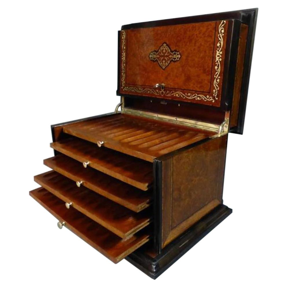19th Century Napoleon III Marquetry Cigar Cellar, 1850s