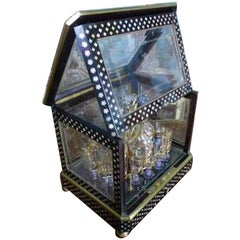 19th Century Napoleon III Mother of Pearl and Crystal Baccarat Liquor Cellar