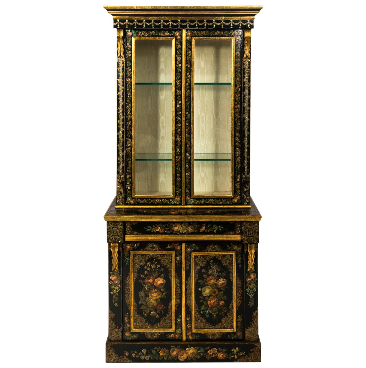 19th Century Napoleon III Mother of Pearl and Papier Mâché Cabinet