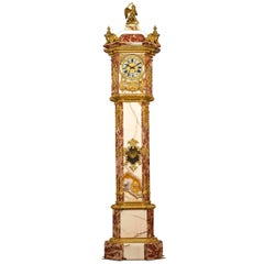 19th Century Napoleon III Onyx and Marble Longcase Clock