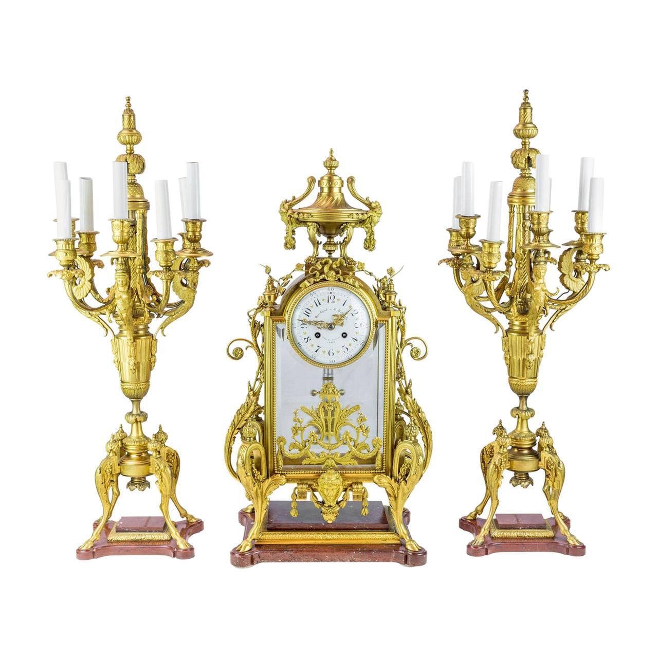 19th Century Napoleon III Ormolu Clock Set Attributed to Ferdinand Barbedienne