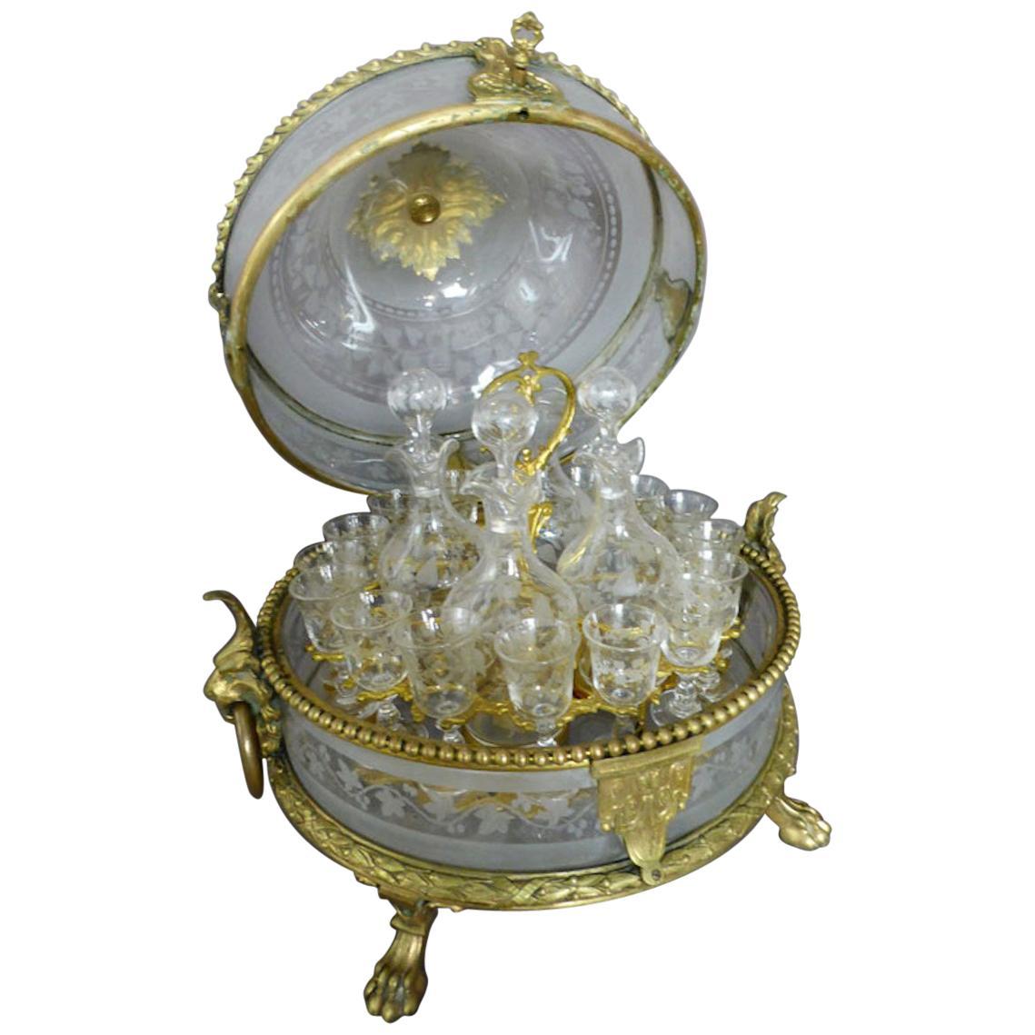 19th century Napoleon III Period Crystal and Bronze Liquor Cellar