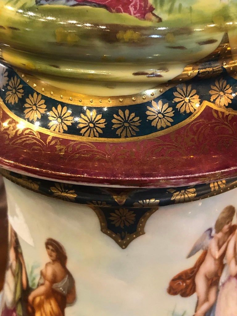 19th Century Napoleon III Porcelain Vases Urn Royal Vienna Painted, 1870s For Sale 5
