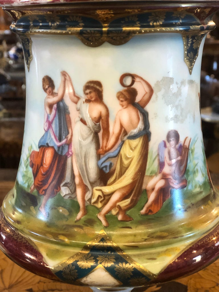 Mid-19th Century 19th Century Napoleon III Porcelain Vases Urn Royal Vienna Painted, 1870s For Sale