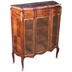 19th Century Napoleon III Rosewood Curved-Legs Side Cabinet Commode