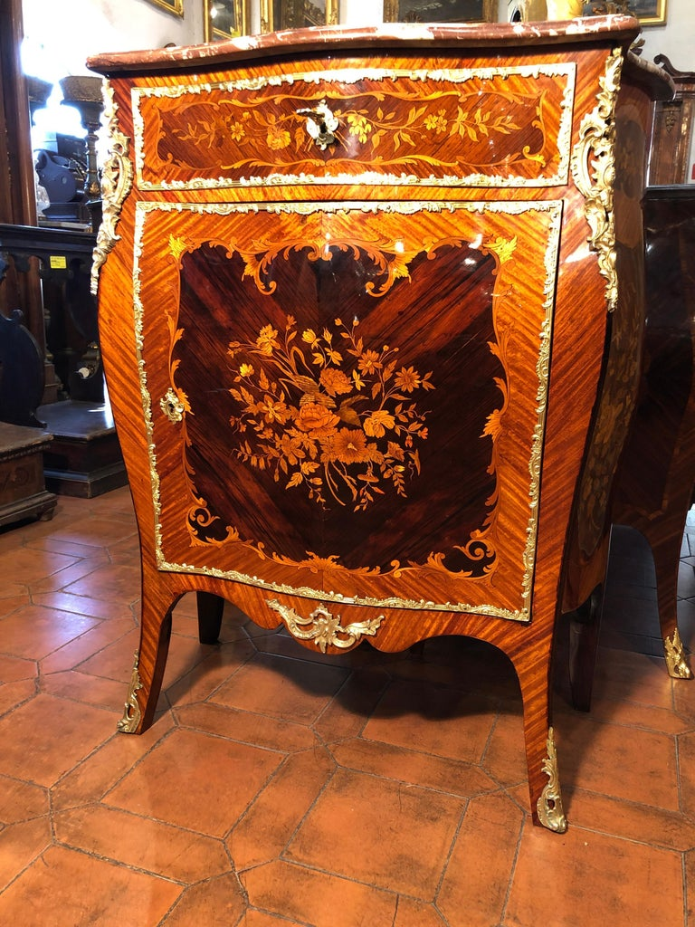 Louis XV 19th Century Napoleon III Rosewood Marble Cabinet Credenzas 1890 For Sale