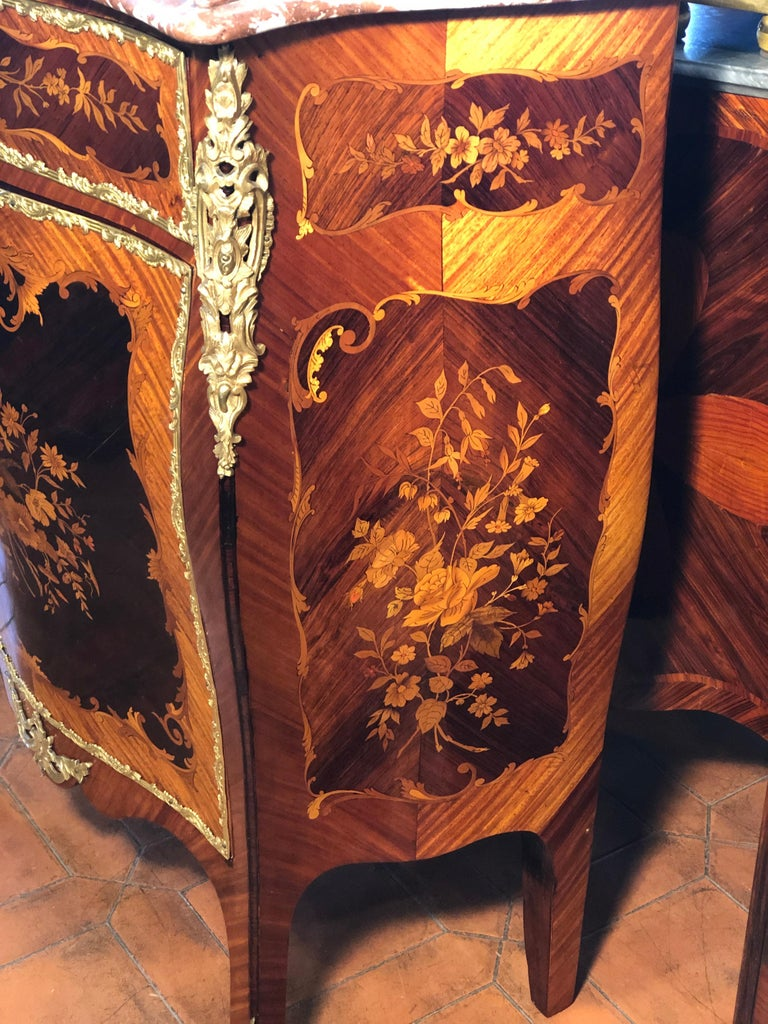 French 19th Century Napoleon III Rosewood Marble Cabinet Credenzas 1890 For Sale