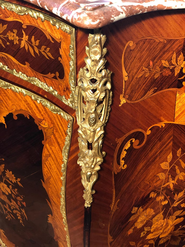 Marquetry 19th Century Napoleon III Rosewood Marble Cabinet Credenzas 1890 For Sale