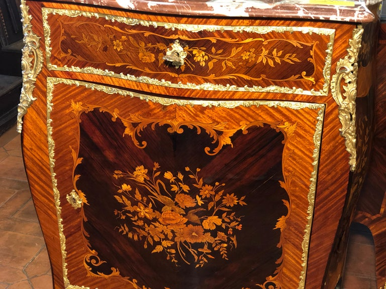 Late 19th Century 19th Century Napoleon III Rosewood Marble Cabinet Credenzas 1890 For Sale