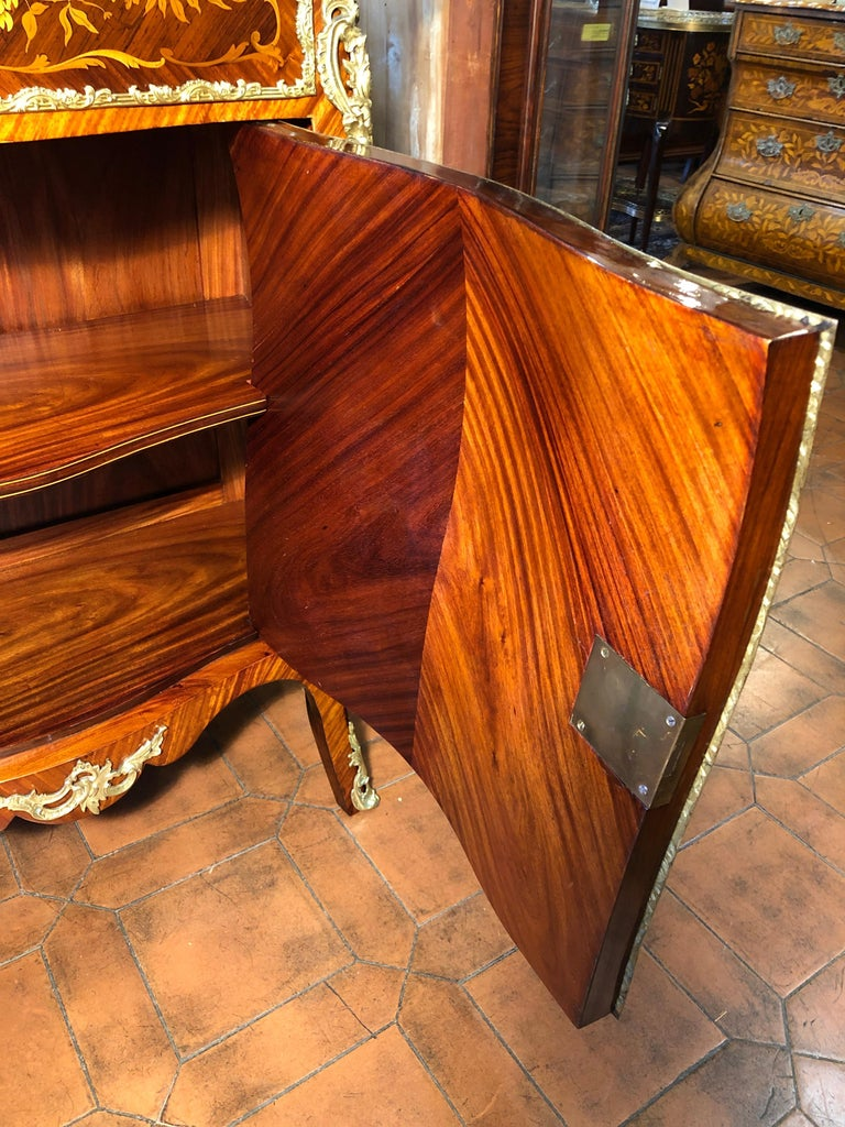 19th Century Napoleon III Rosewood Marble Cabinet Credenzas 1890 For Sale 2