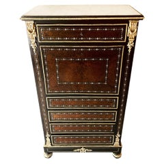 19th Century Napoleon III Secretary, Pearwood Amboyna and Mother of Pearl Inlay